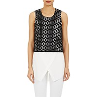 Derek Lam 10 Crosby Women's Lace Overlay Poplin Top Blue