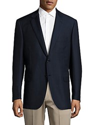 Brioni Two Button Wool Blend Jacket Blue