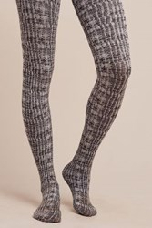 Anthropologie Gridline Tights Black And White
