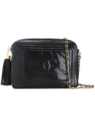 Chanel Vintage Cc Logo Fringe Chain Bag Black