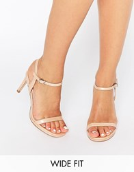 Faith Wide Fit Dolly Nude Barely There Heeled Sandals Nude Patent Beige