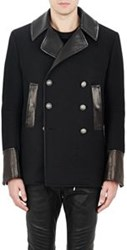 Balmain Leather Trimmed Double Breasted Peacoat Black