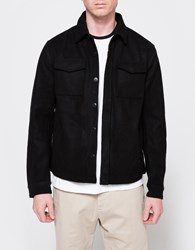 Topman Ltd Wool Button Overshirt Black