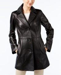 Anne Klein Leather Blazer Jacket Black