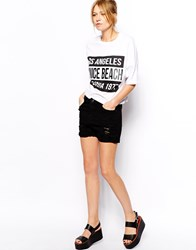 Mango Boyfriend Denim Shorts Black