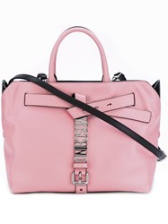 Moschino Logo Plaque Buckle Tote Pink And Purple