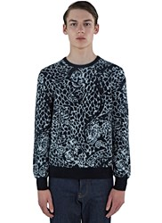 Saint Laurent Leopard Mohair Knit Sweater Grey