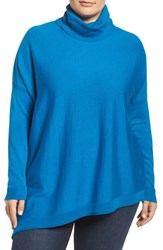 Eileen Fisher Plus Size Women's Merino Jersey Asymmetrical Turtleneck Crystal Blue