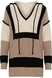 Autumn Cashmere Color Block Cashmere Blend Hooded Sweater Nude