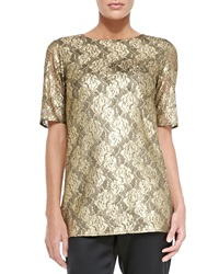 Collection Gilded Lace Jewel Neck Elbow Sleeve Top Medium