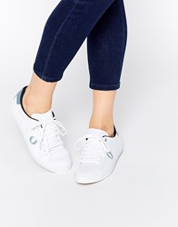 Fred Perry Howells Twill White And Sub Blue Plimsoll Trainers White
