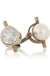 Lanvin Gold And Silver Tone Crystal And Faux Pearl Ring Metallic