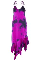 Marques' Almeida Tie Dyed Asymmetric Silk Satin Dress Magenta