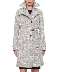 Akris Punto Cross Stitch Printed Jacquard Trenchcoat Chalk Cliff