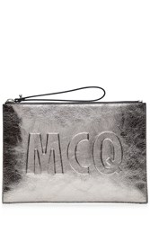 Mcq By Alexander Mcqueen Metallic Leather Clutch Silver