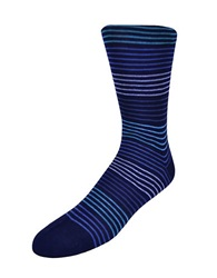 Black Brown Striped Trouser Socks Navy
