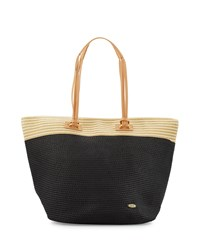 Capelli Of New York Cappelli Striped Trim Straw Tote Bag Black Tan