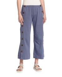 Neon Buddha Side Button Ankle Pants Denim Blue