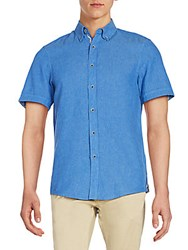 Report Collection Linen And Cotton Short Sleeve Shirt Royal Blue