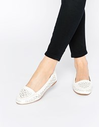 Head Over Heels By Dune Hasier White Cut Out Flat Shoes White