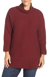 Vince Camuto Plus Size Women's Ribbed Cotton Blend Turtleneck Sweater Malbec Red