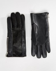 Asos Leather Gloves With Faux Snake Insert In Black Black