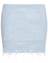 Sandy Liang Light Wash Denim Arnold Mini Skirt Blue