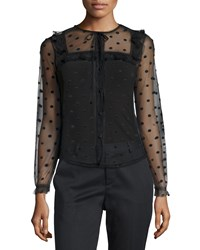 Red Valentino Long Sleeve 3D Polka Dot Blouse Black Women's Size 46 8