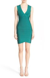 Women's Herve Leger Open Back Bandage Dress Alpine Green