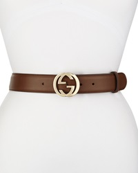 Gucci Wide Adjustable Gg Buckle Belt Nut Brown