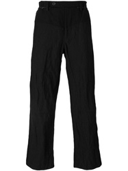 Panelled Straight Trousers Black