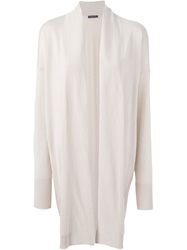 Piazza Sempione Long Open Front Cardigan Nude And Neutrals