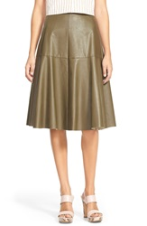 J.O.A. Faux Leather Midi Skirt Olive