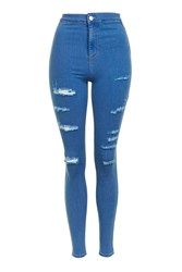 Topshop Moto Blue Super Rip Joni Jeans Bright Blue