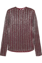 Ganni Humphrey Beaded Georgette Top Claret