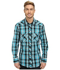 Rock And Roll Cowboy Long Sleeve Snap B2s3033 Turquoise Men's Long Sleeve Button Up Blue