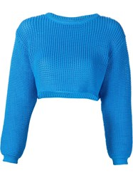 Jeremy Scott Knit Cropped Sweater Blue