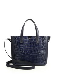 Vince Signature V Baby Crocodile Embossed Leather And Smooth Leather Tote