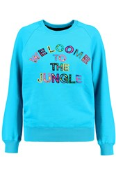 Markus Lupfer Welcome To The Jungle Neon Cotton Terry Sweatshirt Blue