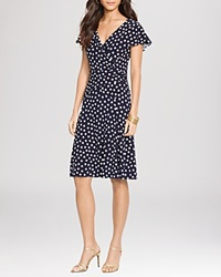 Lauren Ralph Lauren Dress Polka Dot Jersey Lighthouse Navy Colonial Cream
