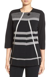 Ming Wang Women's Stripe Collarless Knit Jacket