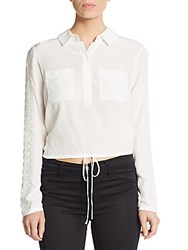 Rebecca Taylor Silk Eyelet Crop Top White
