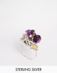 Katandbee Kat And Bee Wrapped Amethyst Sterling Silver Wire Ring Silveramethyst