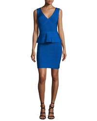 Herve Leger Sleeveless V Neck Peplum Bandage Dress Bright Blue Women's