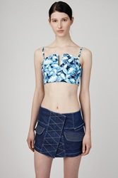 Opening Ceremony Painted Leaves Denim Sweetheart Bustier Pelagic Blue Multi
