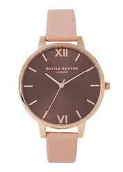Olivia Burton Big Dial Rose Gold Plated Watch Pink