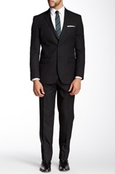Nicole Miller Pinstripe Notch Lapel Slim Fit Suit Black