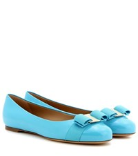 Salvatore Ferragamo Varina Patent Leather Ballerinas Blue