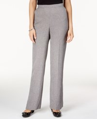 Alfred Dunner Petite Crescent City Pull On Straight Leg Pants Charcoal