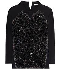 Sonia Rykiel Sequinned Cotton Sweatshirt Black